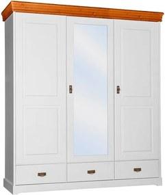 Šatníková skriňa Toskania 3D so zrkadlom a zásuvkami, dekor biela/medová, masív, borovica