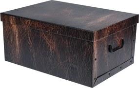 Home collection Úložné krabice se vzorem Kůže 51x37x24cm hnědá