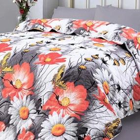 XPOSE® Prikrývka na posteľ KARLA - oranžová/sivá 220x240 cm