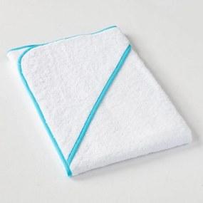 Dobrý Textil Detská osuška s kapucňou - Bílá / světle modrá