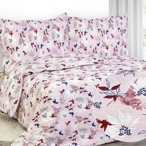 Goldea krepové posteľné obliečky - vzor 785 vtáci a kvety 200 x 200 a 2ks 70 x 90 cm