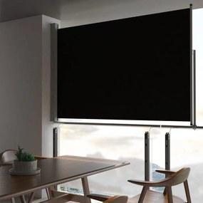 vidaXL Zaťahovacia bočná markíza na terasu čierna 160 x 300 cm