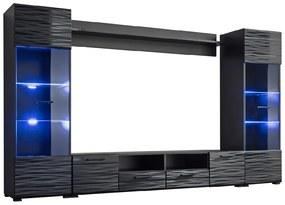 FURNIVAL Modica obývacia stena s osvetlením čierna / sahara lesk
