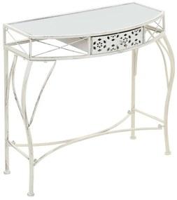 vidaXL Bočný stolík vo francúzskom štýle biely 82x39x76 cm kovový