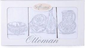 Soft Cotton Bavlnené kuchynské utierky OTTOMAN Biela / strieborná výšivka