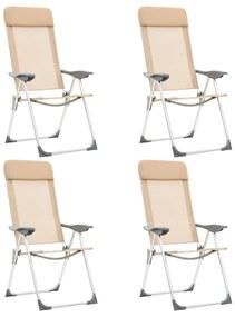 vidaXL Skladacie kempingové stoličky 4 ks, krémové, hliník