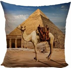 Vankúš Ťava pri pyramíde (Veľkosť: 55 x 55 cm)