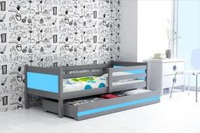 Detská Posteľ RINO - 190x80cm Grafitový - Modrý