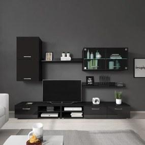 Obývacia stena, čierna/čierny lesk, KLARENA