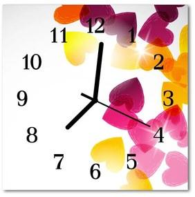 Sklenené hodiny štvorcové Farebné srdce 30x30 cm