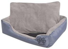 vidaXL Pelech pre psov s polstrovaným vankúšom, veľkosť S, sivý