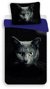 MKLuzkoviny.cz 3D Obliečky – Čierna mačka 140x200/70x90cm