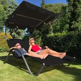 Relaxačné lehátko pro 2 osoby Craftfield PALACE -čierna