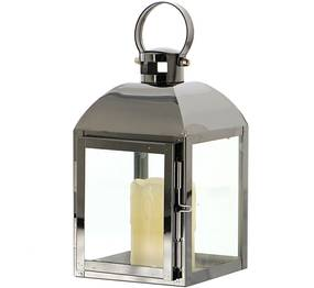 Plechový lampáš - antracit (v. 17 cm) - moderný štýl