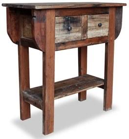 vidaXL Prístavný stolík z masívneho recyklovaného dreva, 80x35x80 cm