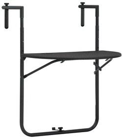 vidaXL Visiaci balkónový stolík hnedý 60x64x83,5 cm plastový s ratanovým vzhľadom