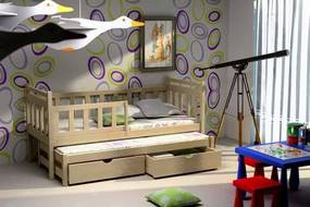 MAXMAX Detská posteľ s výsuvnou prístelkou z MASÍVU 200x90cm so zásuvkou - DPV004