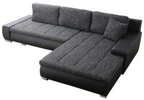 KONDELA Toniks L/P rohová sedačka s rozkladom a úložným priestorom čierna