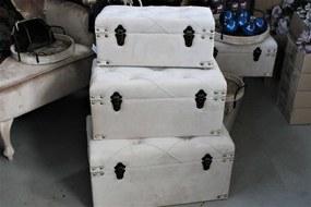 Krémové zamatové truhlice na sedenie 3-set