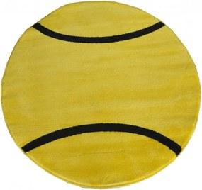 Detský kusový koberec Tenis žltý kruh, Velikosti 100x100cm