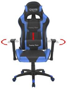 vidaXL Sklápacie kancelárske kreslo, pretekársky dizajn, umelá koža, modré