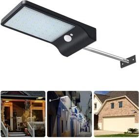 Bezdoteku LEDSolar 36 nástenná lampa s vysunutím čierna, sa senzorom, bezdrôtové, 2,5 W, studená farba