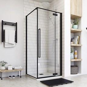 Aquatek JAGUAR A3 90 × 90 Sprchovací kút čierny matný, číre sklo 8 mm, 90 × 90 × 200 cm