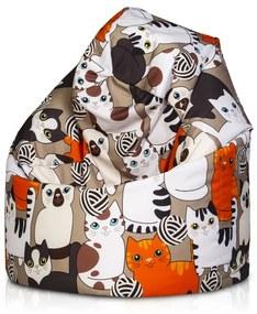 Sedací vak Sako Modern polyester - DG42 - Mačky