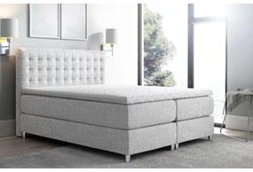Vysoká čalúnená posteľ boxspring Luca šedá 180 + topper zdarma