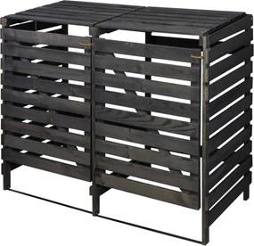 Drevený box na odpadovú nádobu OBK-120L-2-FAREBNÉ VARIANTY Povrchová úprava: Čierna