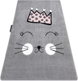 Koberec PETIT CAT MAČKA KORUNA sivý - 80x150 cm