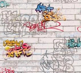 Papierové tapety na stenu 935611, rozmer 10,05 m x 0,53 m, biele tehly s graffiti, A.S.Création