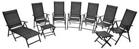 vidaXL Skladacie záhradné stoličky 9 ks, hliníkové, čierne