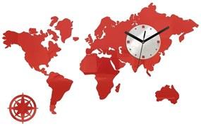 Mazur 3D nalepovací hodiny Mapa světa červená