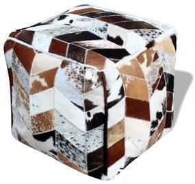 Štvorcový taburet z pravej kože viacfarebný 45x45x45 cm