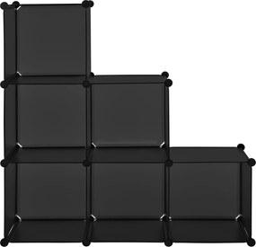 [neu.haus]® Polica so 6 skrinkami - čierna - DIY variabilný systém - model 1