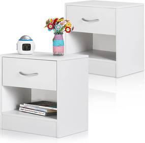 2x nočný stolík so zásuvkou, poličkou - biely