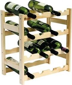 Drevený regál na víno pre 16 fliaš
