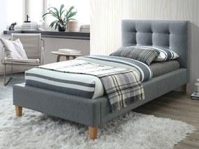 Sivá čalúnená posteľ TEXAS 90 x 200 cm Matrac: Bez matraca