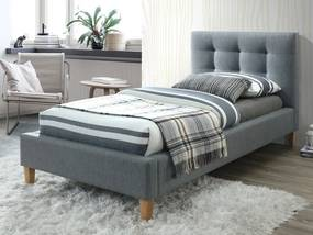 Sivá čalúnená posteľ TEXAS 90 x 200 cm Matrac: Matrac COCO MAXI 23 cm