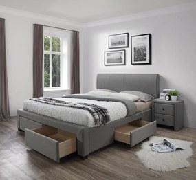HALMAR Modena 160 čalúnená manželská posteľ s roštom sivá