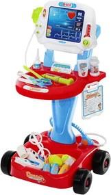 ISO Lekársky vozík s meraním EKG, červený, 6114