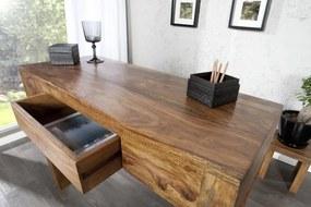 Písací stôl Makassar z masívneho dreva Sheesham 100cm