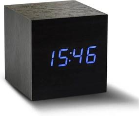 Čierny budík s modrým LED displejom Gingko Cube Click Clock