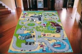 Detský koberec Cesta TOP zelený, Velikosti 133x180cm