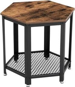 VASAGLE Odkladací stolík šesťuholník industriálny 55 x 55 x 55 cm
