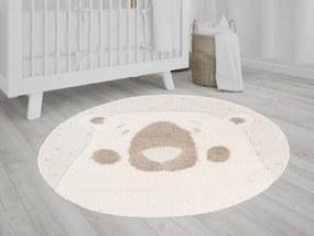 TA Okrúhly detský koberec béžový s motívom medvedíka 120x120 cm