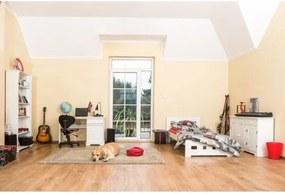 Detská izba Korfu + posteľ Kvadrat 90 (90x200 cm) s úložných priestorom a roštom, borovica, masív, biela