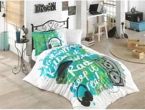 Zelené obliečky s plachtou na jednolôžko Live Music, 160 × 220 cm