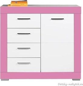 d697bf9f6dce Detská komoda Twin 1D4S - biela   ružová ...